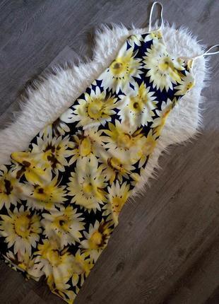 Яркое👗 платье сарафан подсолнухи, открытая спина, на тонких бретелях s-xs