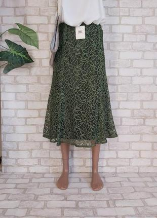Фирменная kaliko с биркой юбка миди с дорого кружева в цвете олива/хаки, размер 2хл