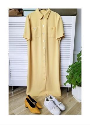 Стильное платье рубашка миди платье оверсайз прямого кроя платье на пуговицах