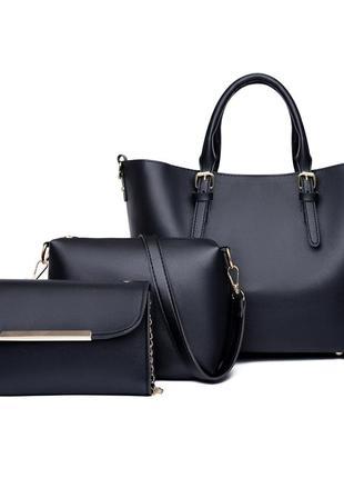Черный комплект сумок сумка черная сумочка 3067