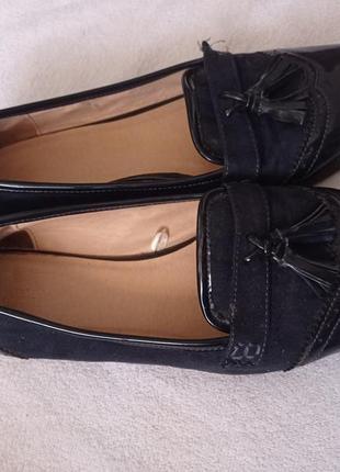 Супер лаковые темно-синие туфли