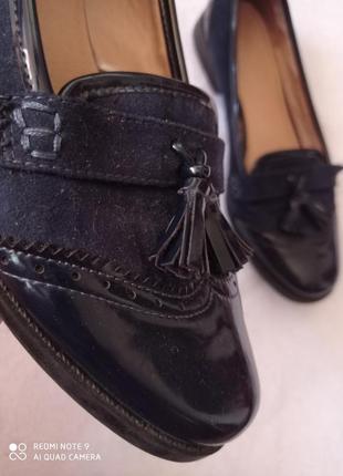 Супер лаковые темно-синие туфли2 фото