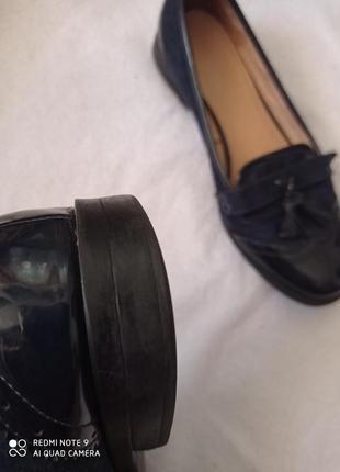 Супер лаковые темно-синие туфли5 фото