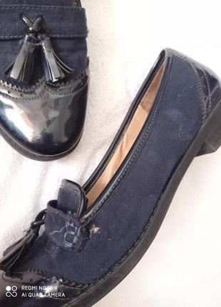 Супер лаковые темно-синие туфли7 фото