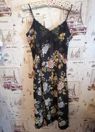 Платье цветочный принт, длина миди, сарафан