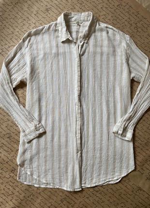 Тонкая нежная натуральная длинная рубашка блуза туника муслин