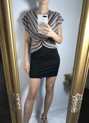 Чёрная мини юбка в полоску