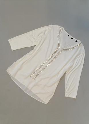 💋 белая блуза с паетками
