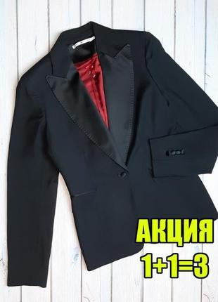 💥1+1=3 брендовый черный женский пиджак 49% шерсть tommy hilfiger, размер 42 - 44