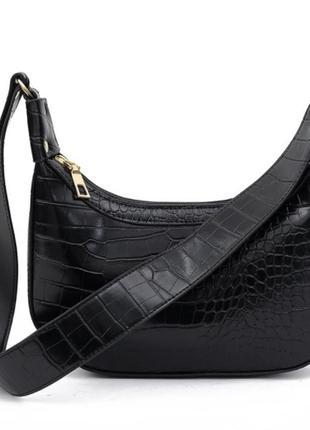 Модная черная сумка стильная сумочка 3069
