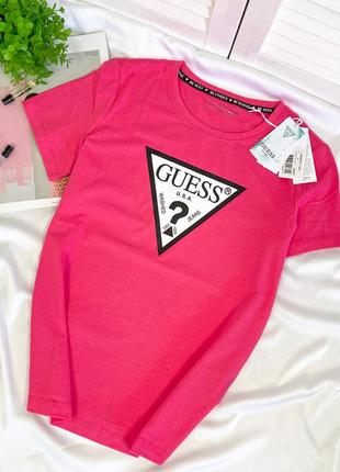 Малиновая розовая футболка guess новая оригинал гесс