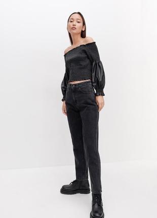 Джинси чорні супер трендові круті. джинсы mom fit.