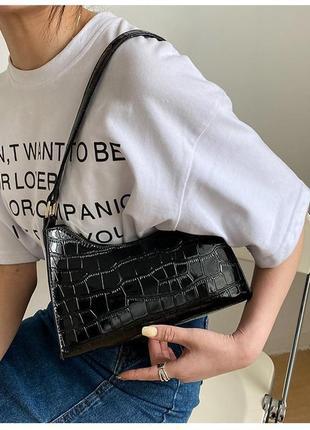 Модная черная сумка стильная сумочка 3070