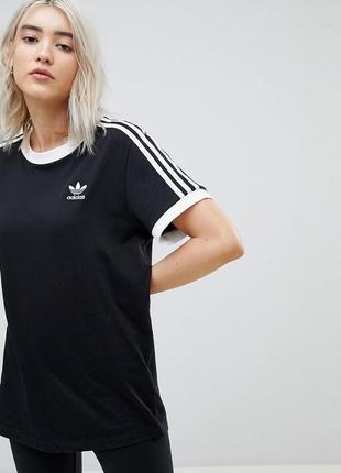 Adidas футболка женская чёрная с полосами лампасами адидас