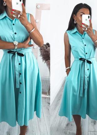 Женское платье миди на пуговицах