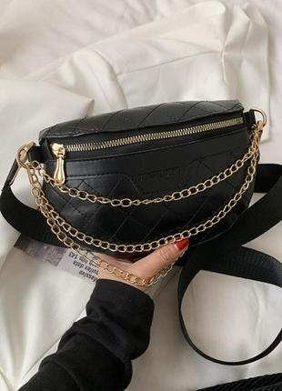 Модная черная сумка стильная сумочка бананка сумка на пояс 3071