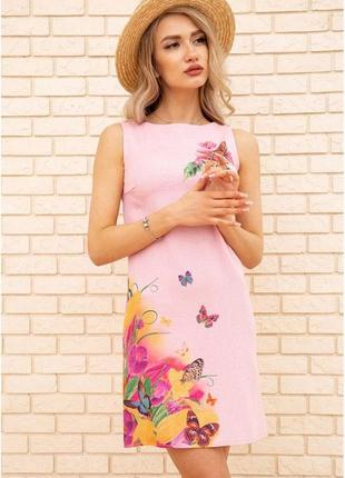Короткое льняное платье с цветами (3 цвета на выбор)