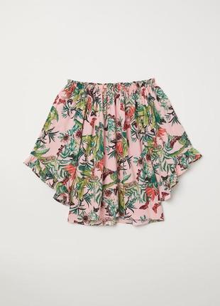 Натуральная блузка блуза из вискозы с открытыми плечами топ в флористический принт