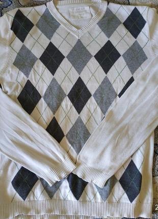Мужской реглан,кофта в ромбик на рубашку, размер м/л.