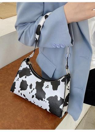 Модная черно-белая сумка стильная сумочка с принтом корова 3073