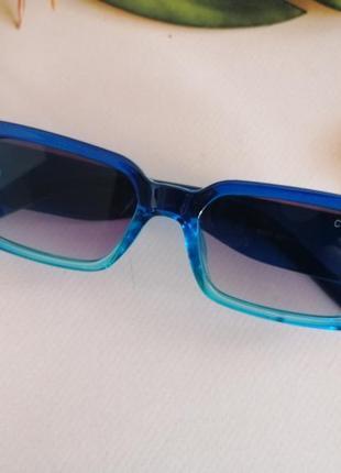 Эксклюзивные синие узкие солнцезащитные женские очки 2021 с двухцветной линзой3 фото
