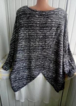 Красивый свитер джемпер туника с шифоновой вставкой большого размера батал оверсайз
