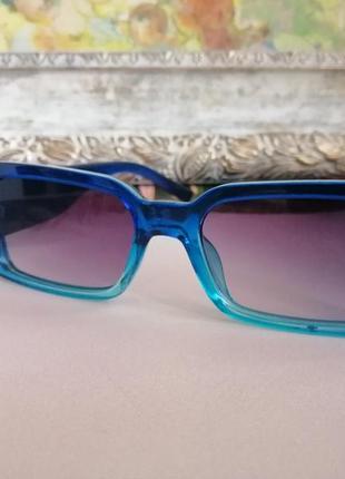 Эксклюзивные синие узкие солнцезащитные женские очки 2021 с двухцветной линзой5 фото