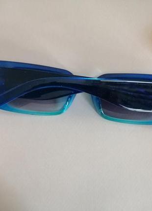 Эксклюзивные синие узкие солнцезащитные женские очки 2021 с двухцветной линзой4 фото
