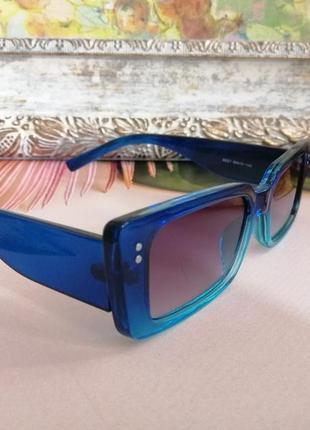 Эксклюзивные синие узкие солнцезащитные женские очки 2021 с двухцветной линзой