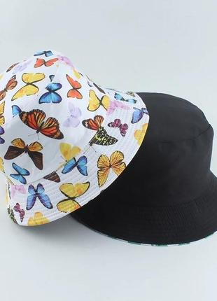 Панама двухсторонняя бабочки белая, унисекс