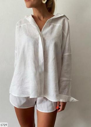 Легкий льняной свободный белый костюм рубашка оверсайз и шорты натуралный лен