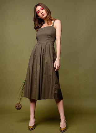 Последний цвет🚦 платье миди хаки / летнее платье сарафан цвета хаки