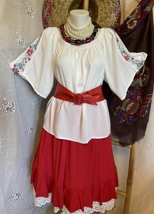 Блуза рубашка этно стиль вышиванка белая