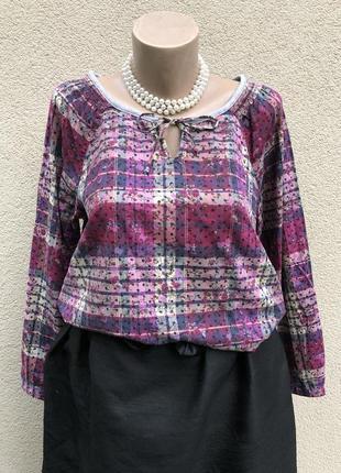 Рубаха реглан,блуза в клеточку tom tailor,хлопок,этно стиль