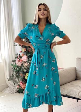 Платье на запах в цветочек бирюзовое