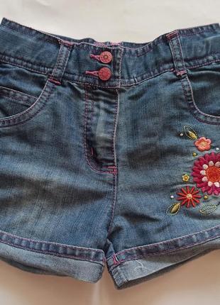 Джинсовые шорты с вышивкой mothercare 116 см