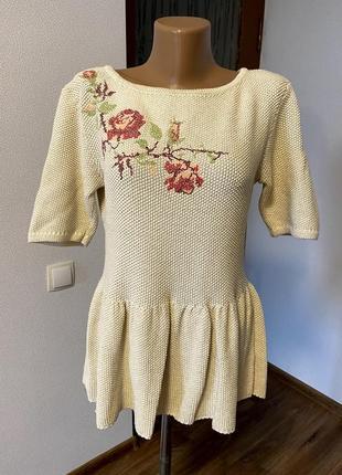 Вязанная блуза с вышивкой/ большая распродажа!