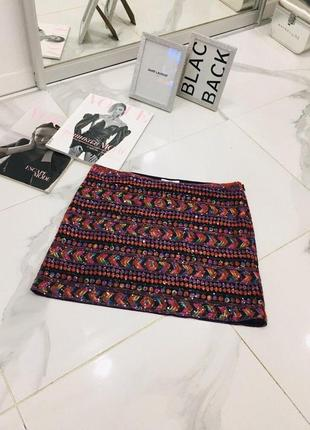 Стильная мини юбка расшитая пайетками мульти цвет promod  1+1=3 на всё 🎁