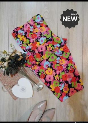 Новое коттоновое платье бюстье в цветочный принт