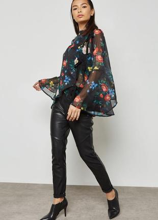 Красивая оригинальная блуза в цветы с завязками / большая распродажа!