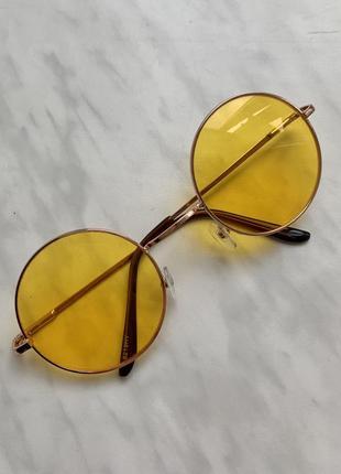 Дизайнерські жовті круглі окуляри. нові. безкоштовна доставка