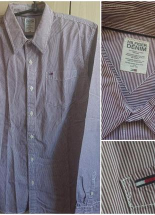 Фирменная мужская хлопковая рубашка. tommy hilfiger