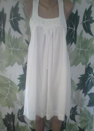 Платье сарафан туника белое белоснежка zara хлопок хлопковое