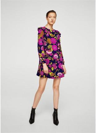 Платье из натуральной ткани с оборками mango