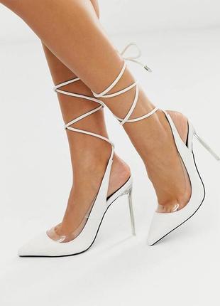 Белые туфли-лодочки кожаные с завязкой на щиколотке public desire - clarity