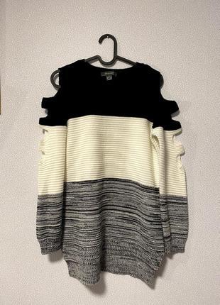 Новый свободный свитер с вырезами на рукавах / большая распродажа!