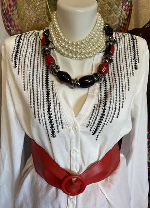 Белая блуза рубашка туника этно стиль вышиванка с v вырезом