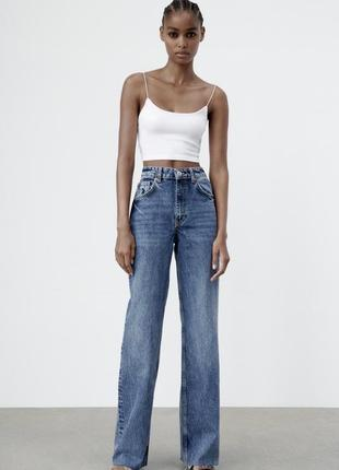 Джинсы zara wide- leg jeans