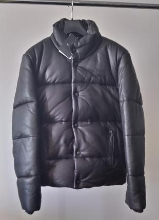 Новый кожаный пуховик asos зима 💣100% натуральная кожа тёплая куртка