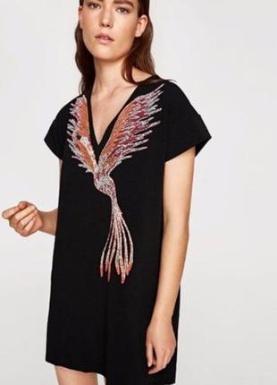 Прямое платье в принт птица феникс zara